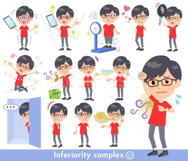 red Tshirt Glasse men_complex Stock photo © toyotoyo