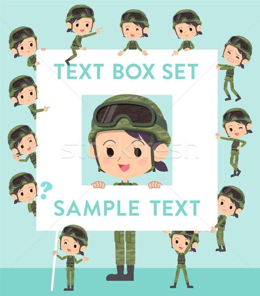 Militar desgaste mulher texto caixa conjunto Foto stock © toyotoyo