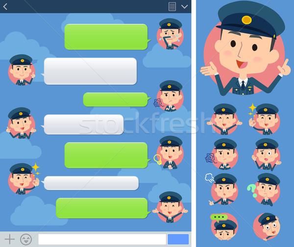 police man sns window Stock photo © toyotoyo