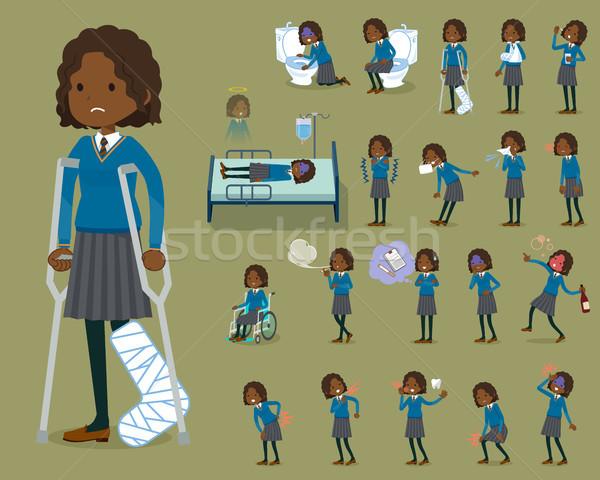 Type schoolmeisje vrouwen student teen zwarte Stockfoto © toyotoyo
