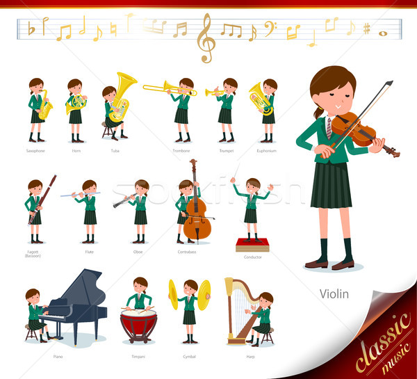 flat type school girl Green Blazer_classic music Stock photo © toyotoyo