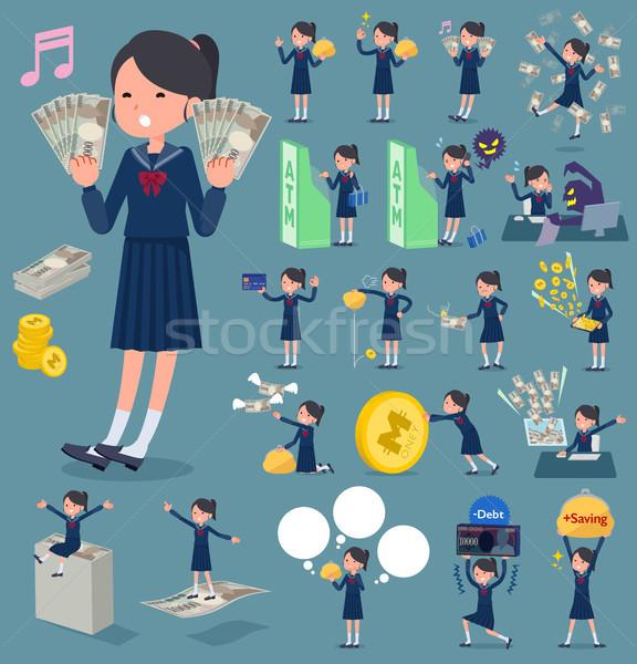 flat type school girl Sailor suit_money Stock photo © toyotoyo