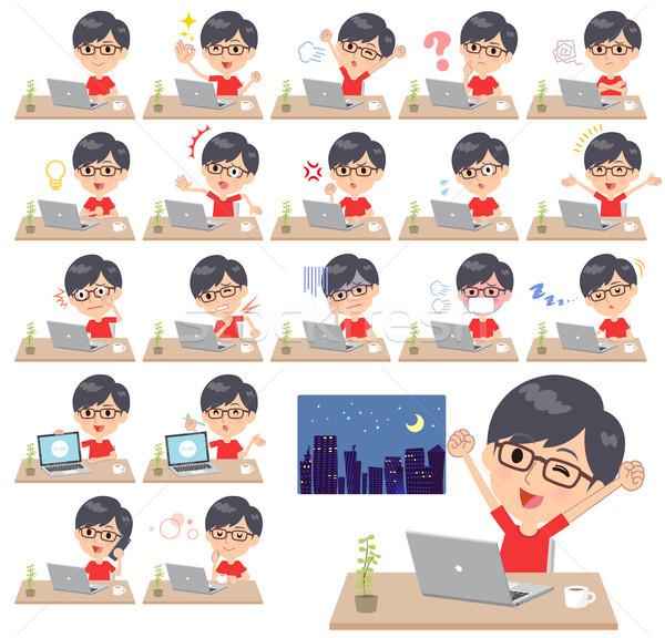 red Tshirt Glasse men_desk work Stock photo © toyotoyo