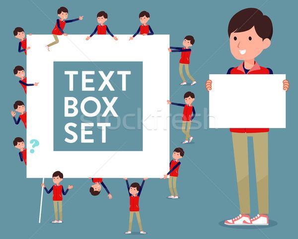 flat type Store staff red uniform men_text box Stock photo © toyotoyo