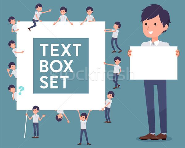 flat type White short sleeved men_text box Stock photo © toyotoyo