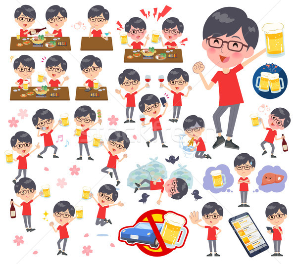 red Tshirt Glasse men_alcohol Stock photo © toyotoyo
