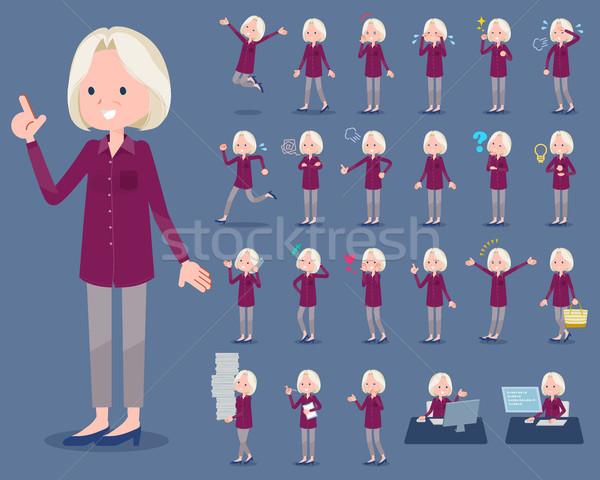 Type paars shirt oude vrouwen lopen Stockfoto © toyotoyo