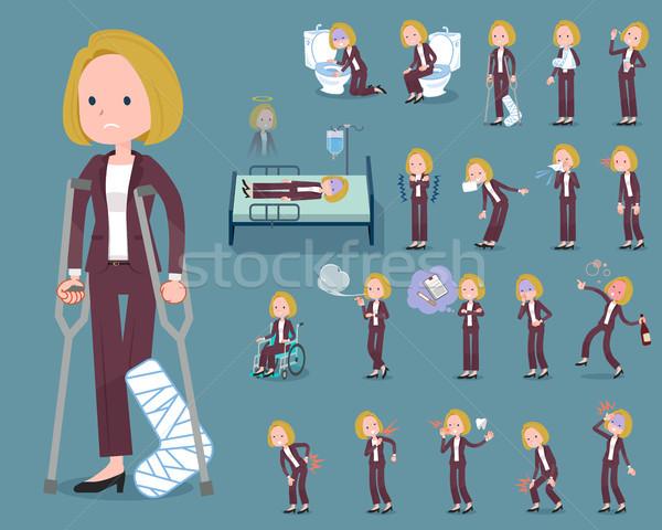 flat type blond hair business women_sickness Stock photo © toyotoyo