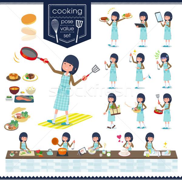 Iskolás lány barna szett főzés különböző Stock fotó © toyotoyo