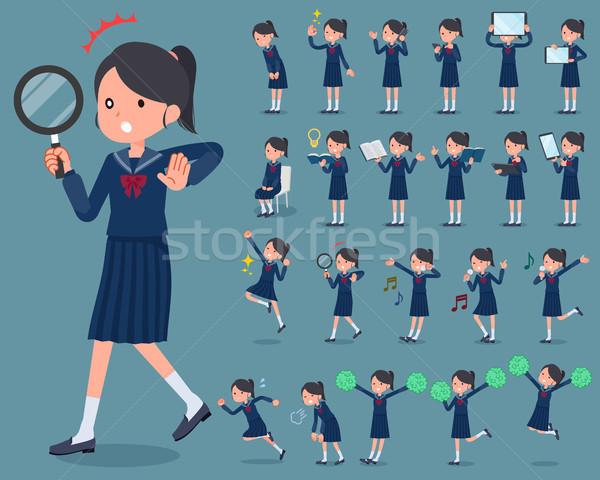 flat type school girl Sailor suit_2 Stock photo © toyotoyo