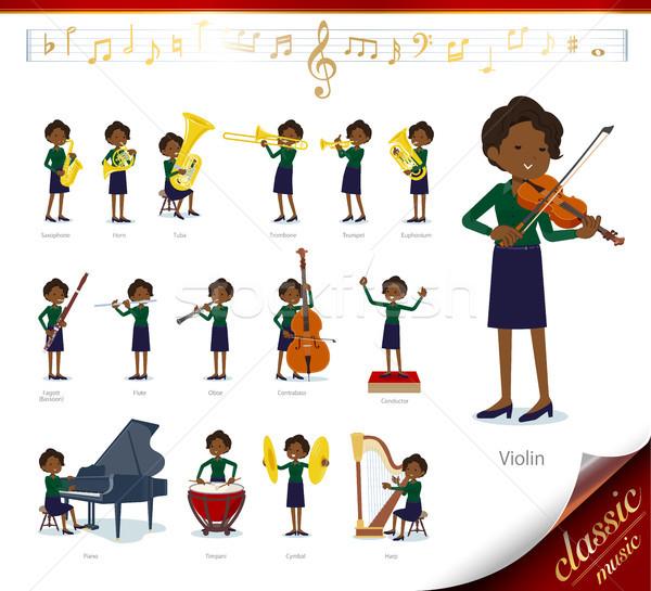 flat type business black women_classic music Stock photo © toyotoyo