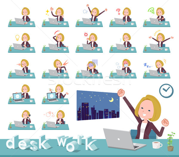 flat type blond hair business women_desk work Stock photo © toyotoyo