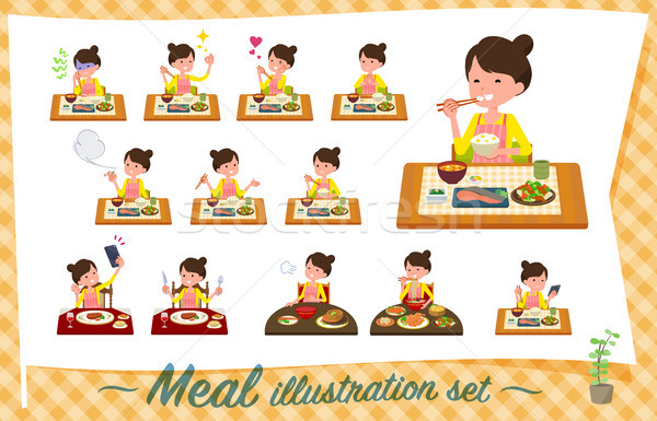 flat type Ballet Bun hair Apron mom_Meal Stock photo © toyotoyo
