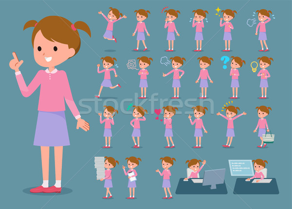 flat type Pink clothing girl_1 Stock photo © toyotoyo
