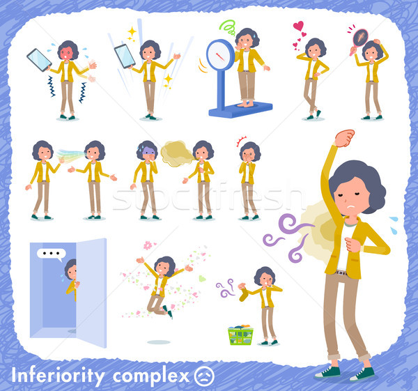 flat type Yellow jacket Middle women_complex Stock photo © toyotoyo
