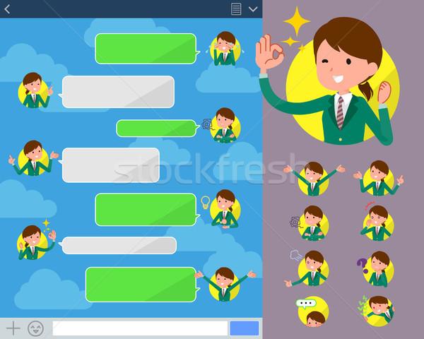 Type schoolmeisje groene internet vrouwen student Stockfoto © toyotoyo
