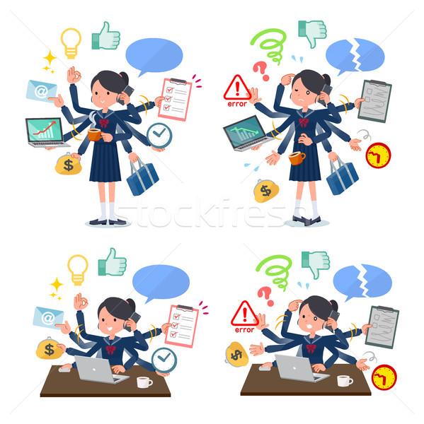 Iskolás lány matróz feladat szett multitaszking Stock fotó © toyotoyo