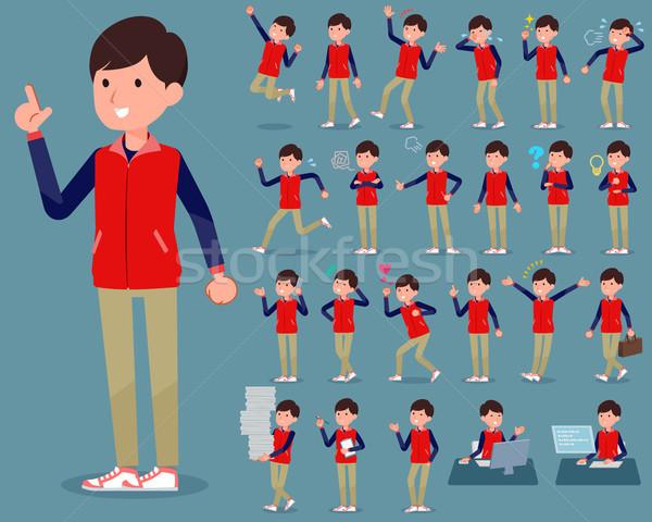 flat type Store staff red uniform men_1 Stock photo © toyotoyo