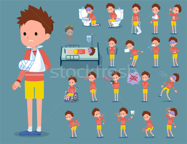flat type Red clothing short hair boy_sickness Stock photo © toyotoyo