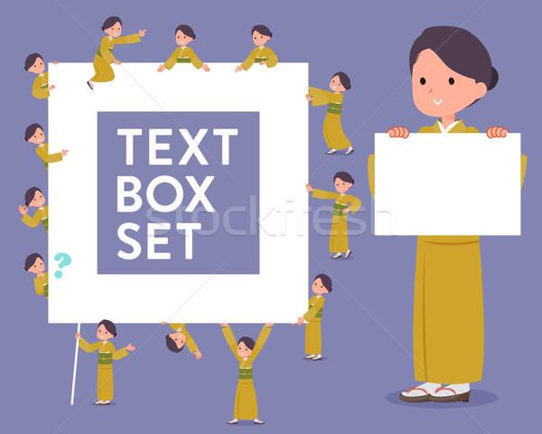 flat type yellow ocher kimono  women_text box Stock photo © toyotoyo