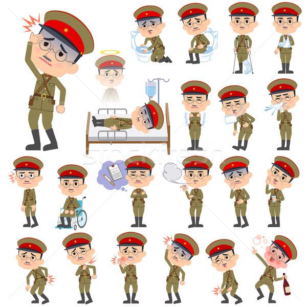 military wear japan style man sickness Stock photo © toyotoyo