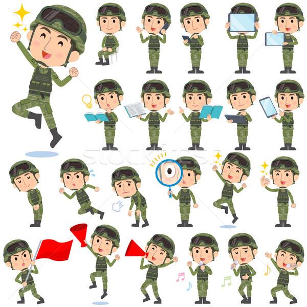 Militar desgaste hombre establecer libro Foto stock © toyotoyo