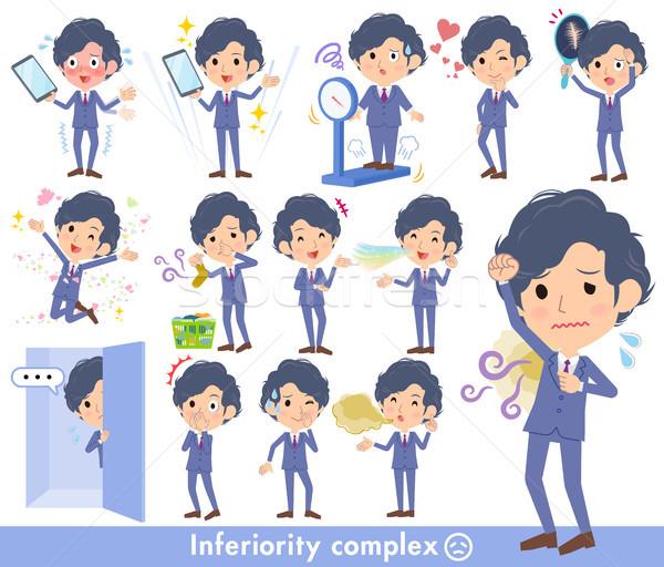 navy blue suit perm hair men_complex Stock photo © toyotoyo