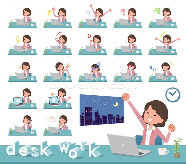 Stock photo: flat type Pink jacket Middle women_desk work
