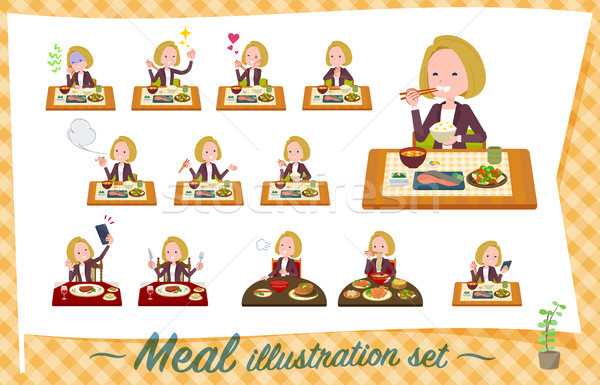 flat type blond hair business women_Meal Stock photo © toyotoyo