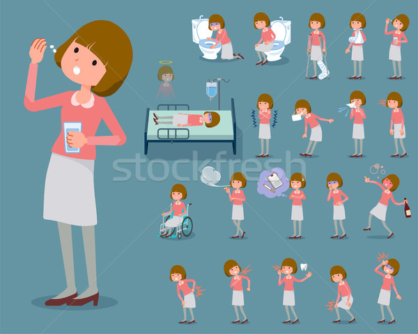 flat type Straight bangs hair pink blouse woman_sickness Stock photo © toyotoyo