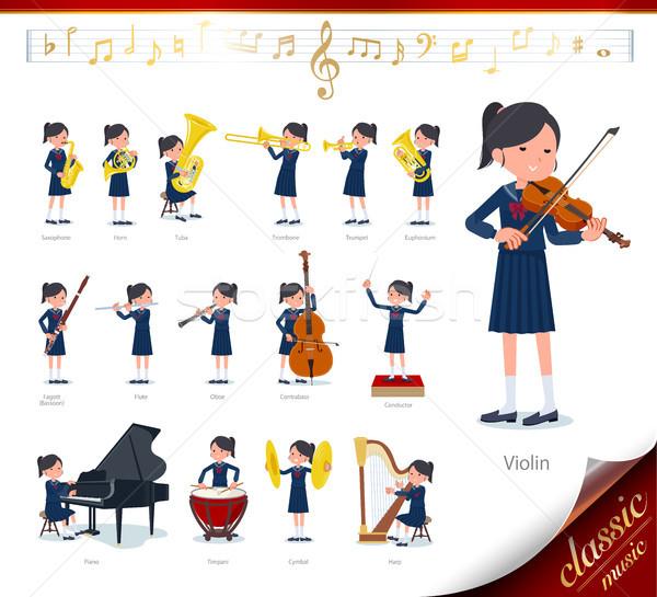 Iskolás lány matróz zene szett klasszikus zene Stock fotó © toyotoyo
