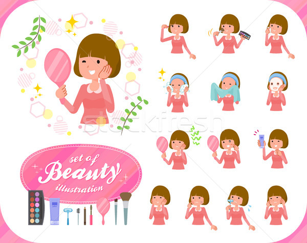 flat type Straight bangs hair women_beauty Stock photo © toyotoyo