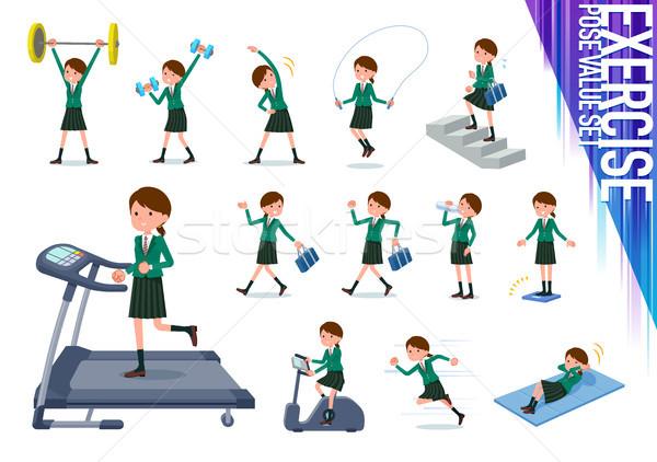 flat type school girl Green Blazer_exercise Stock photo © toyotoyo
