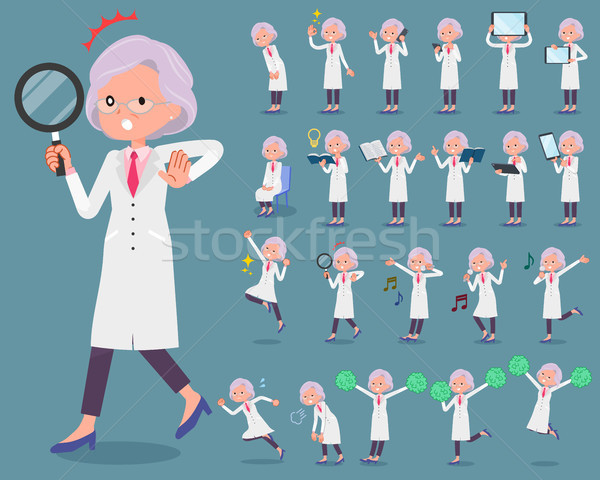 flat type Research Doctor old women_2 Stock photo © toyotoyo
