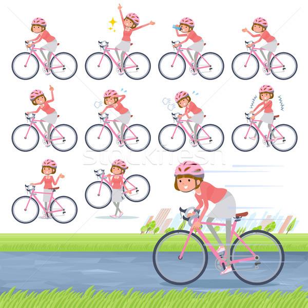flat type Straight bangs hair women_road bike Stock photo © toyotoyo