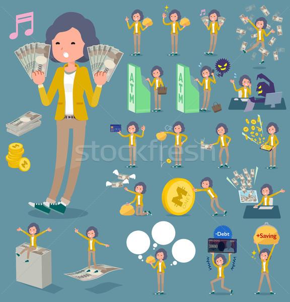 Tipo amarelo jaqueta meio mulheres compras Foto stock © toyotoyo