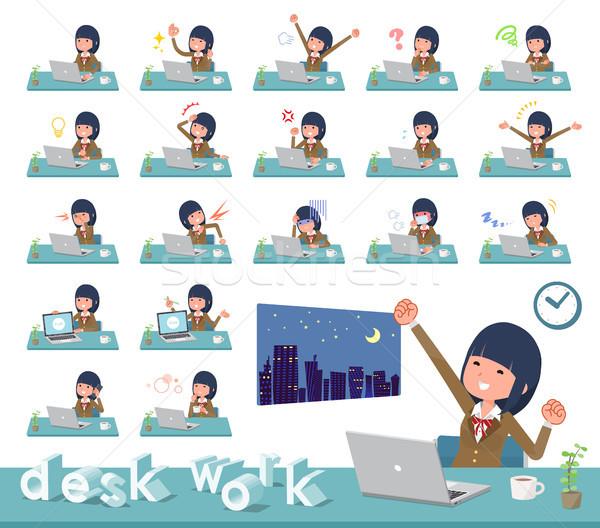 flat type school girl Brown Blazer_desk work Stock photo © toyotoyo