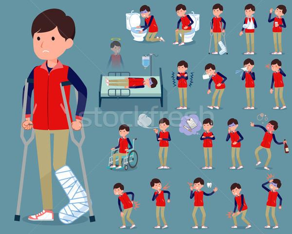 flat type Store staff red uniform men_sickness Stock photo © toyotoyo