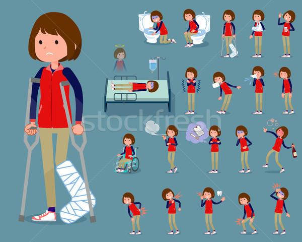 flat type Store staff red uniform women_sickness Stock photo © toyotoyo