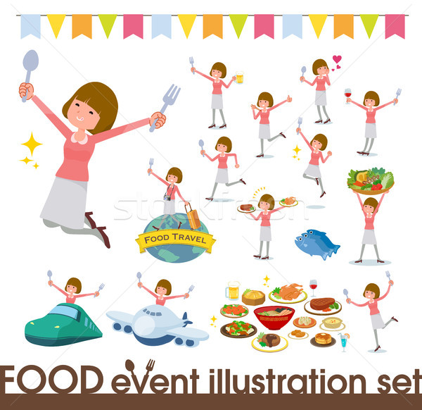 flat type Straight bangs hair women_food festival Stock photo © toyotoyo