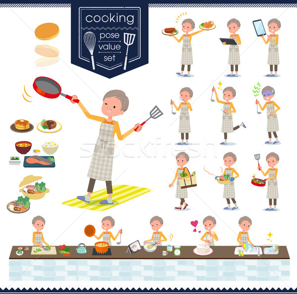 flat type short hair old women_cooking Stock photo © toyotoyo