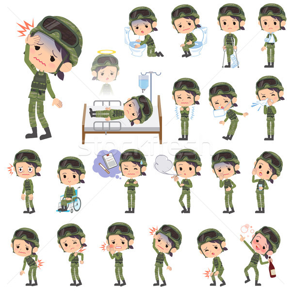 military wear woman sickness Stock photo © toyotoyo