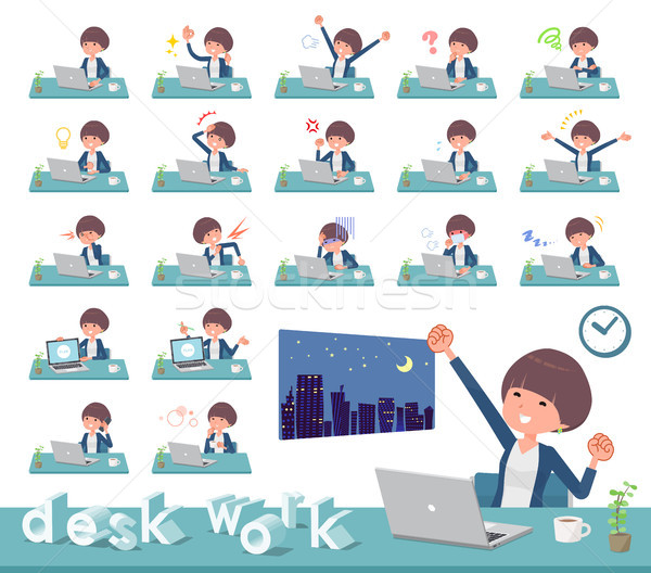 Type haren werk ingesteld vrouwen bureau Stockfoto © toyotoyo