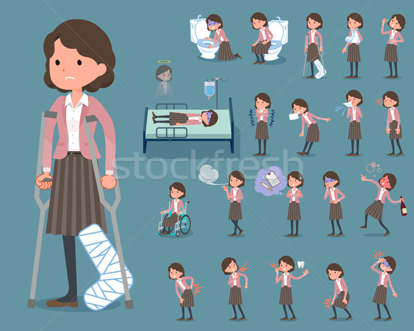 flat type Pink jacket Middle women_sickness Stock photo © toyotoyo