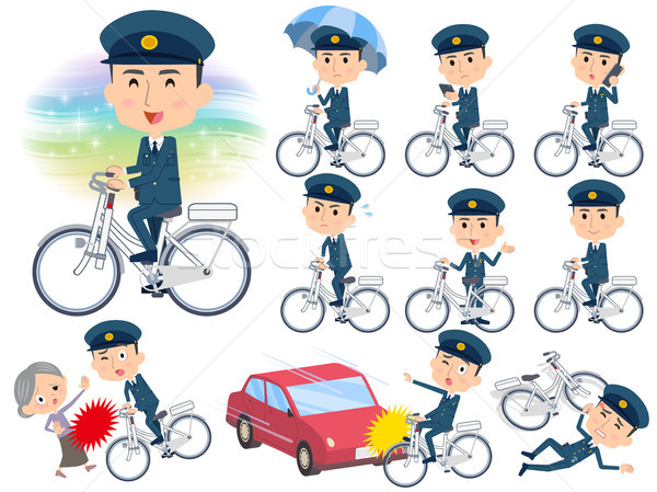 police men ride on city bicycle Stock photo © toyotoyo