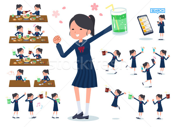 flat type school girl Sailor suit_party Stock photo © toyotoyo