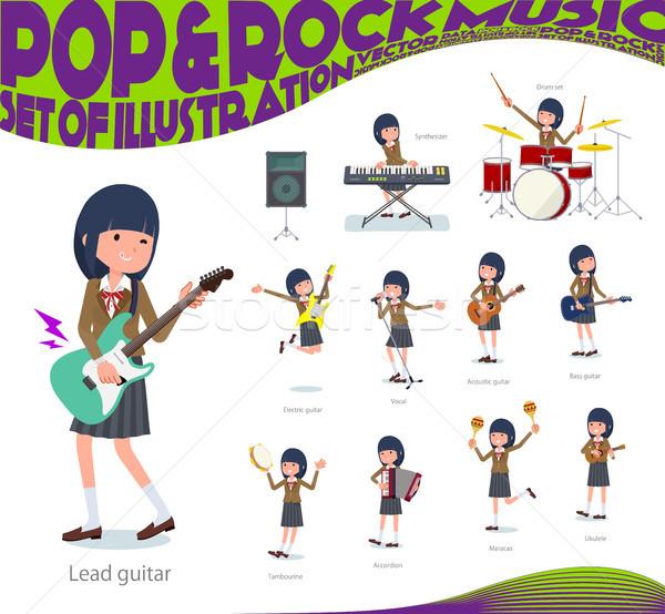 Stock fotó: Iskolás · lány · barna · zene · szett · játszik