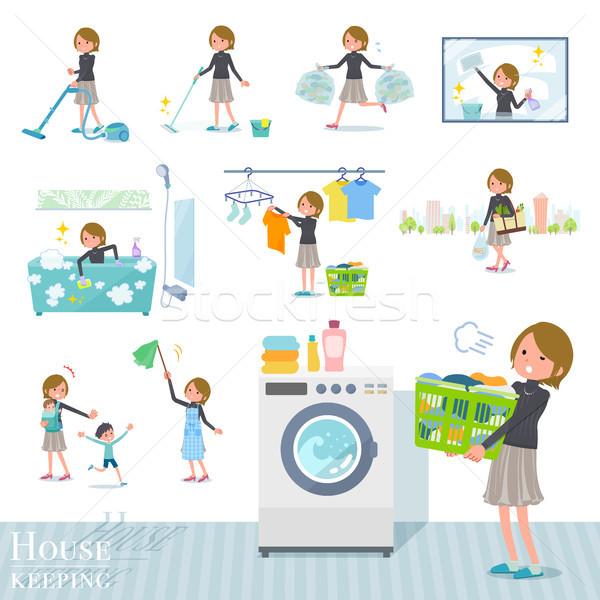 Tipo pelo corto establecer mujeres limpieza Foto stock © toyotoyo