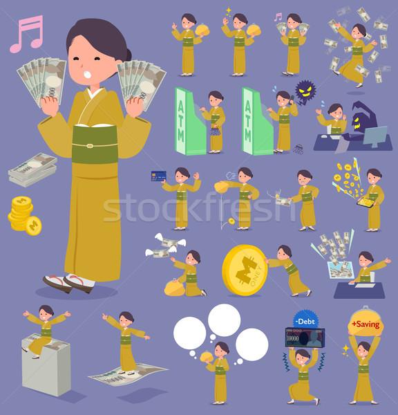 flat type yellow ocher kimono  women_money Stock photo © toyotoyo