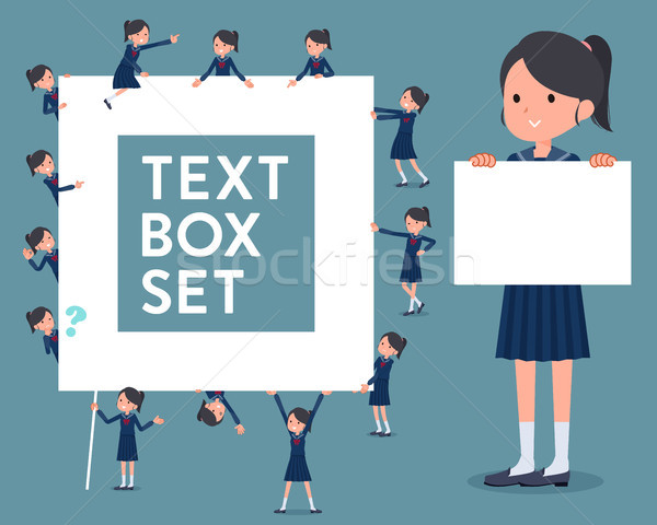 flat type school girl Sailor suit_text box Stock photo © toyotoyo